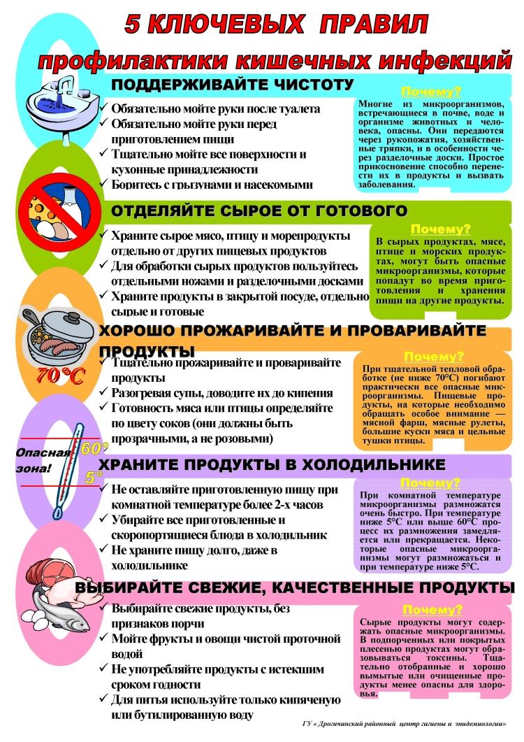 Схема правильного приготовления пищи для профилактики кишечных инфекций у детей