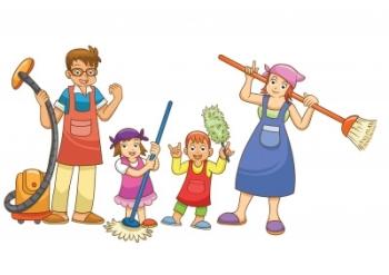 Рисунок - семья проводит уборку