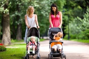 Две мамочки гуляют с детьми